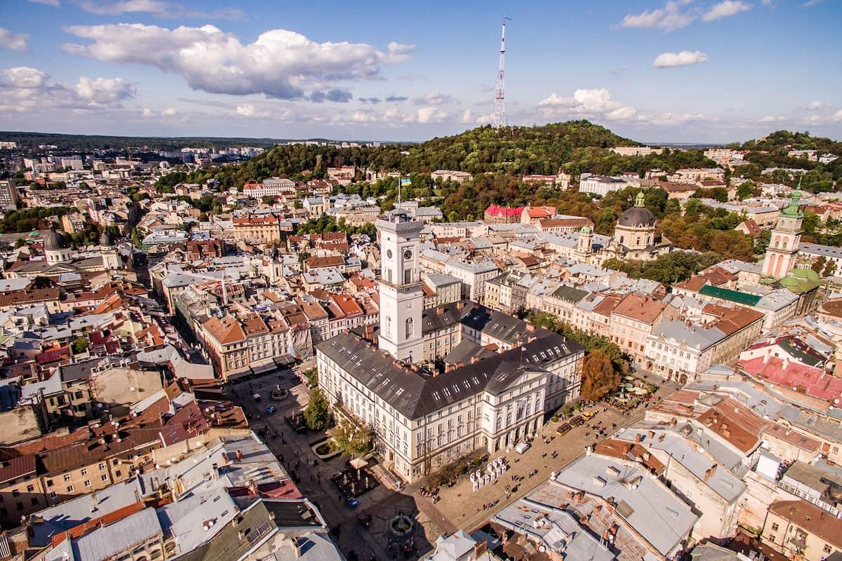 Львівська ратуша з висоти