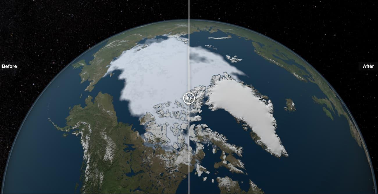 Зміна площі арктичних льодовиків внаслідок глобального потепління