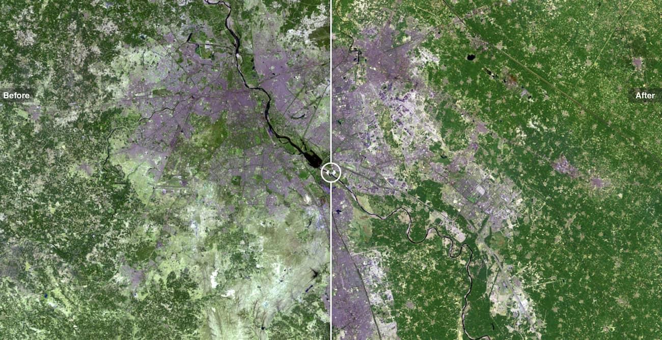 Як виглядає процес урбанізації з супутника