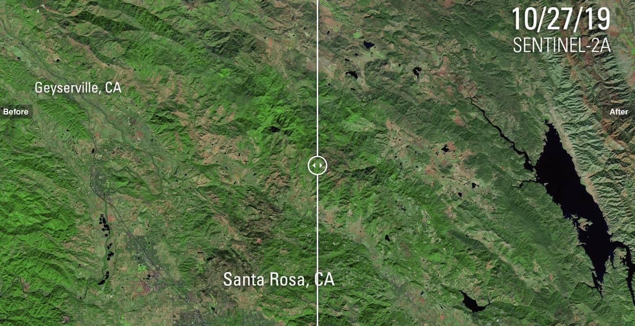 Пожежі в Каліфорнії з супутника